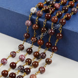 5m/lot,Gold Plated 8mm Round Red Lace Agate Beads Wire Wrapped Rosary Chain JT123