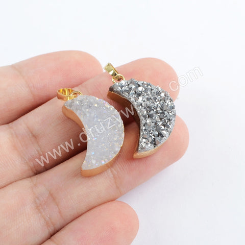 Moon Crestcent Gold Plated Natural Agate Titanium Rainbow Druzy Pendant G1721
