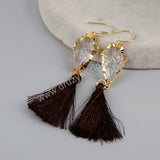 Gold Plated Natural Quartz Arrowhead Rainbow Tassel Earrings G1236