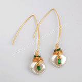 Gold Plated Natural Pearl With Multi CZ Charm Earrings WX1273-E