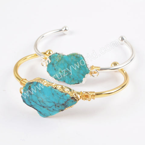 Gold Plated Wire Wrapped 100% Natural Turquoise Bangle G1662