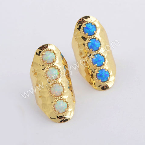 Round Gold Plated White Opal Bezel Band Ring ZG0396