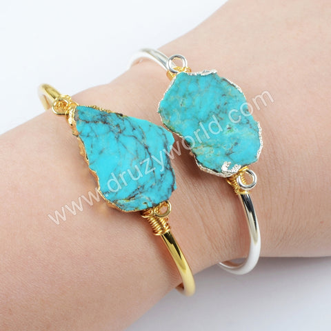 Natural Turquoise Wire Wrapped Bracelet Bangle Silver Plated  S1662