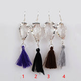 Silver Plated Natural Quartz Arrowhead Rainbow Tassel Earrings S1236