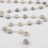1 meter Gold Plated Or Silver Plated 10mm Round Agate Titanium AB Druzy Beads Wire Wrapped Rosary Chain JT157