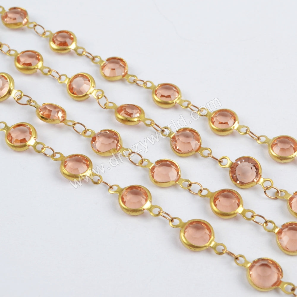 5m/llot,Gold Plated 7mm Orange Crystal Faceted Coin Rosary Chains JT194