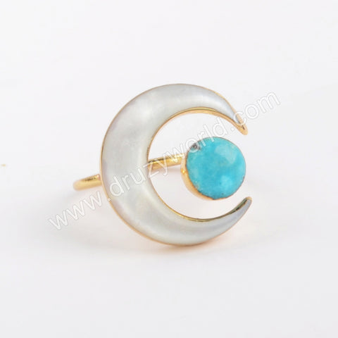Gold Plated Mother Of Pearl Moon & Natural Turquoise Round Ring G1913