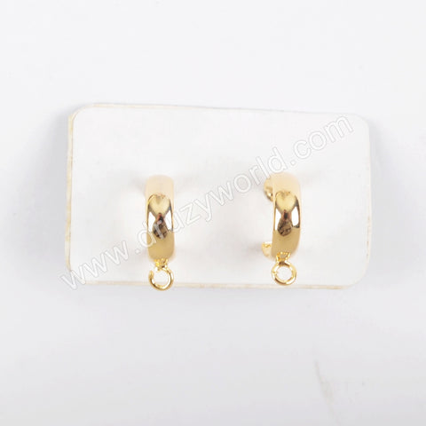 Gold Plated Brass DIY Earrings stud Charm Making Jewelry Supply PJ202