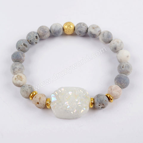 Titanium Rainbow Druzy With 8mm Druzy Beads Bracelet G1561