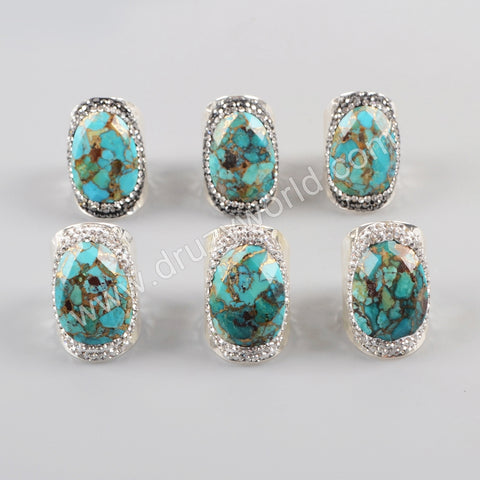 Silver Plated Rhinestone Pave Natural Gold-Line Turquoise Ring  JAB944
