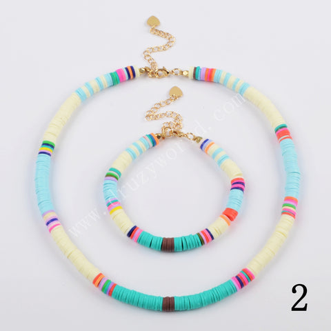 Fashion Trend Outfit Heishi Bead Bracelet+Necklace Handmade Jewelry Set HD0089