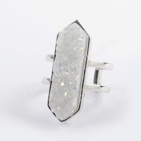 Bezel Natural Agate Titanium AB Druzy Open Ring Silver Plated ZG0404