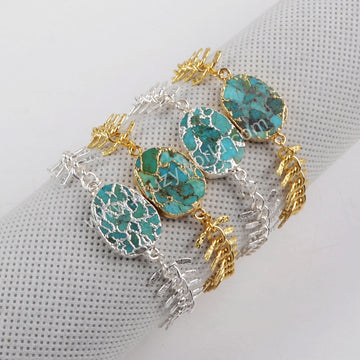 Gold Plated Copper Turquoise Bracelet Bangle G1326