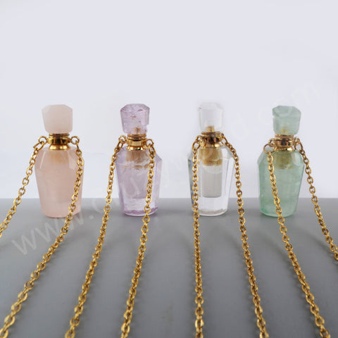 Rose Quartz Perfume Essence Oil Bottle 18K Gold Necklace G1941-N