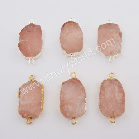 Gold Plated Natural Rose Quartz Connector G1746/S1746