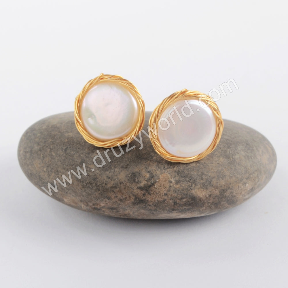 Natural Pearl Wire Wrap Stud Earrings Jewelry For Women WX1205