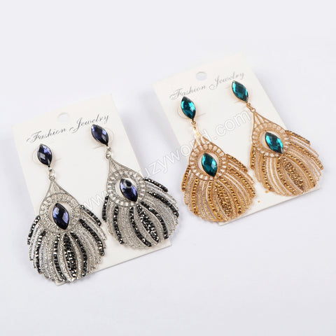 Rhinestone Pave Crystal Peacock Feathers Shape Earrings JAB837