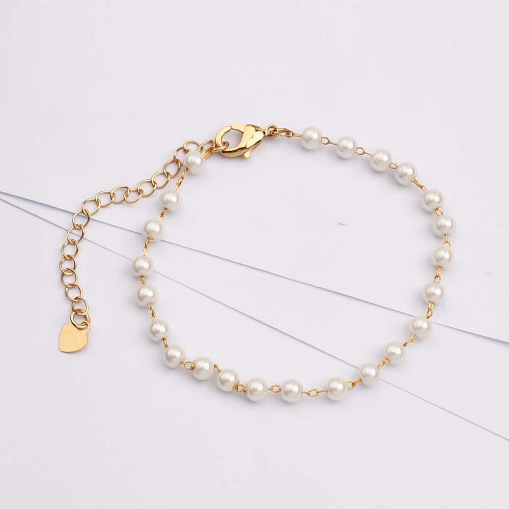 Imitation Pearl Chain Bracelet Necklace Jewelry Gift HD0379