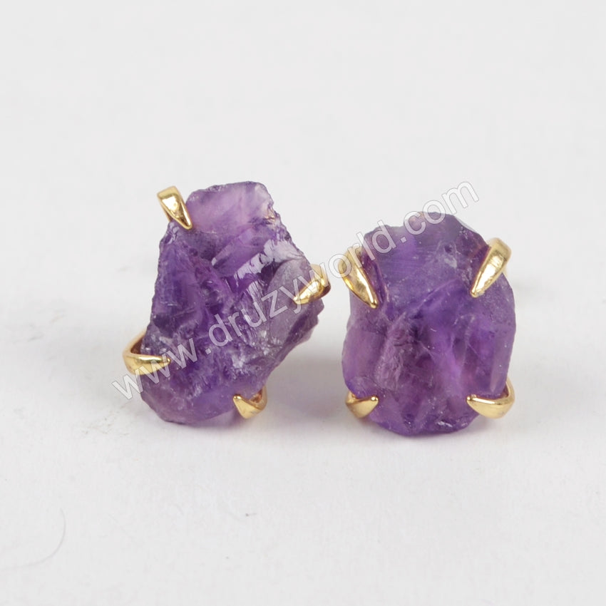 Rough Amethyst Earrings Claw Setting Stud Earrings Gold Plated ZG0134