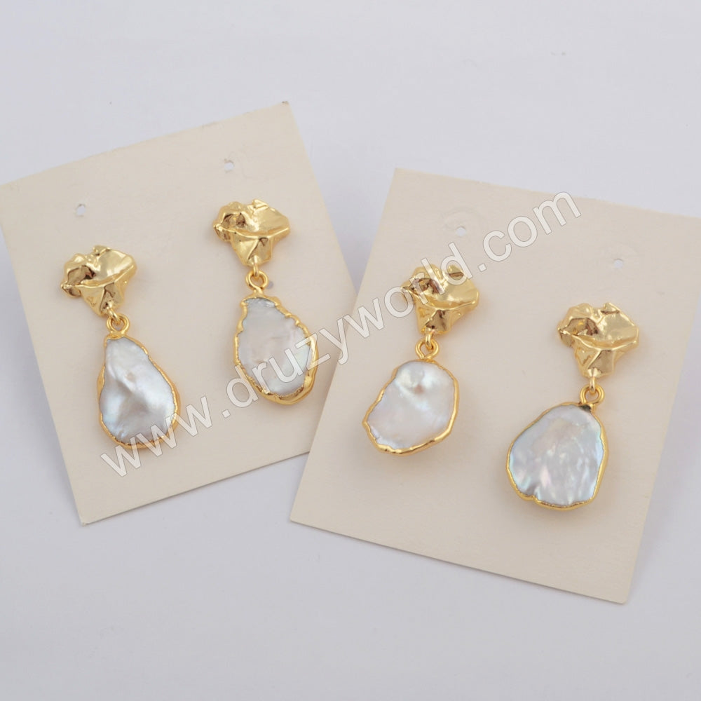 Gold Plated Natural Pearl Earrings Studs Jewelry Trend G1780