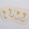 Gold Plated Natural Pearl Earrings Studs Jewelry Trend G1778