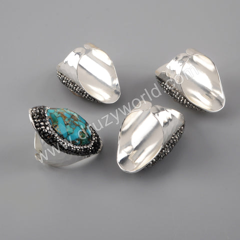 Turquoise Gemstone Rings Band Boho Handmade Gold Silver Women JAB981