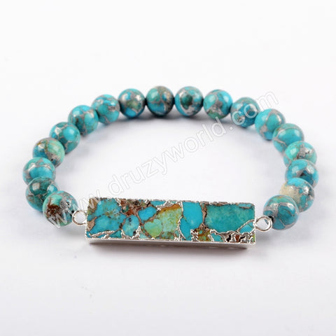 Copper Turquoise With 8mm Beads Bracelet For Women Silve Plated S1651
