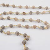 1 meter Gold Plated Or Silver Plated 8mm Round Agate Titanium Champagne Druzy Beaded Chains JT158