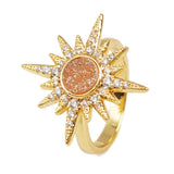 Gold Bezel CZ Micro Pave Crystal Star Rose Gold Druzy Ring ZG0249