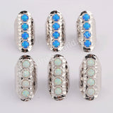 Round Silver Plated White Opal Bezel Band Ring ZS0396