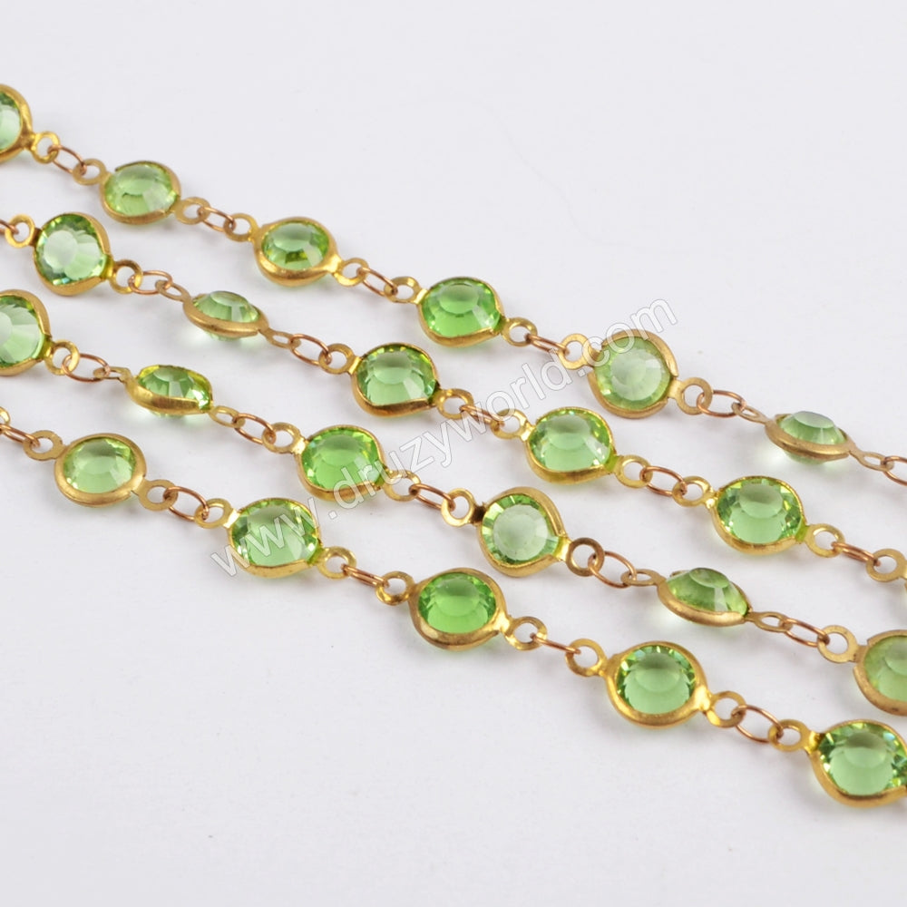 5m/llot,Gold Plated 7mm Green Crystal Faceted Coin Rosary Chains JT195