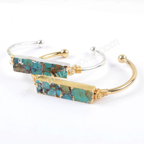 Gold Plated Wire Wrapped Rectangle Natural Copper Turquoise Bangle