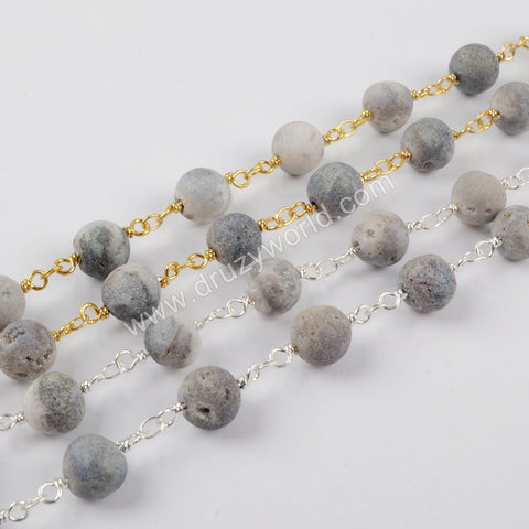 1 meter Gold Plated Or Silver Plated 8mm Round Agate Titanium AB Druzy Beaded Chains JT159