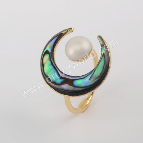 Gold Plated Abalone Shell Moon & Natural Turquoise Round Ring G1914