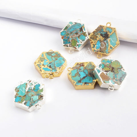 Hexagon Gold Plated Copper Turquoise Connector G1698