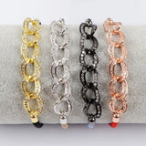 CZ Micro Pave Zirconia Interlok Cotton Rope Bracelet WX695