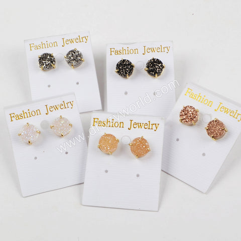 Gold Clap Rainbow White Druzy Stud Earrings ZG0250