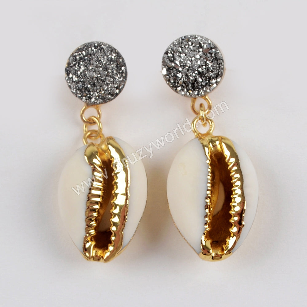 Gold Plated 10mm Round Titanium Rainbow Druzy With Cowrie Shell Earrings G1562