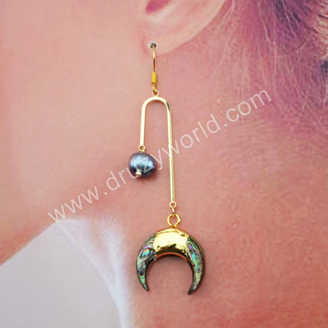 Abalone Shell Natural Pearl Earrings Fashion Gold Earrings Gold Plated HD0199