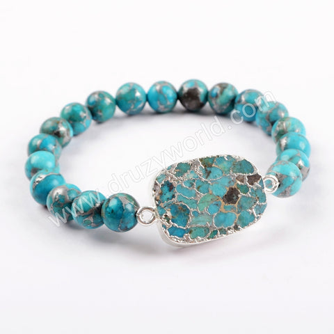 Boho Chic Copper Turquoise With 8mm Beads Bracelet Silver Plated S1652