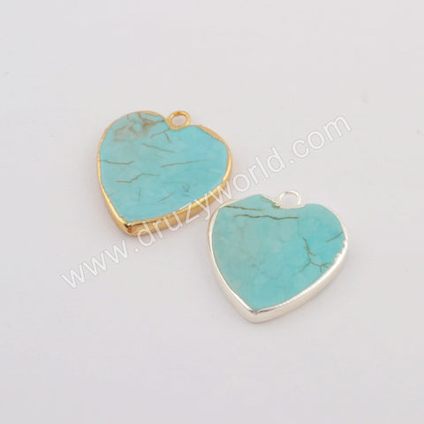 Heart Gold Plated Howlite Turquoise Charm In Silver  G1781