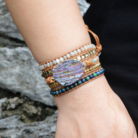 Boho Gold Plated Natural Druzy Stone Beads Bracelet Vintage Leather Wrap Bracelet HD0049