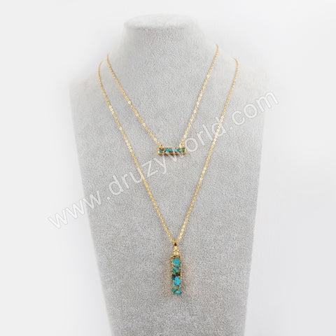 Pure Handmade Natural Turquoise Gold Layer Chain Necklace G1672