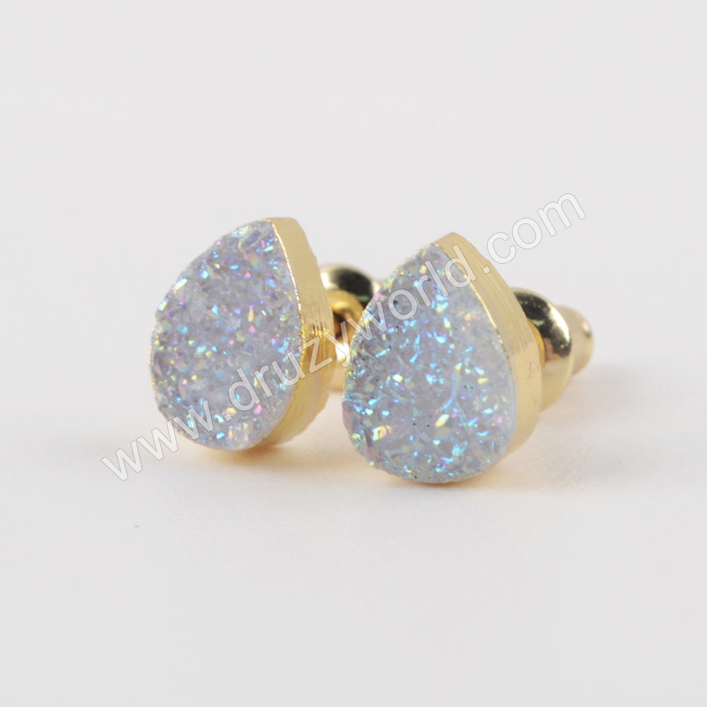 Natural Agate Titanium Rainbow Druzy Stud Earrings Gold Plated G1945