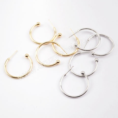 10PCS/bulk,Gold/Silver  Plated Brass Round Earring Finding PJ239