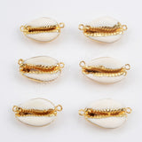 Gold Plated Natural Cowrie Shell Connector G1452