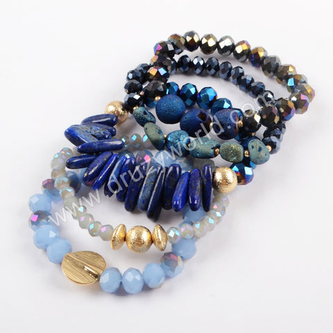 5 Pieces Bracelets Druzy Crystal Glass Beads Bracelet Set In Blue WX1060
