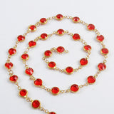 5m/llot,Gold Plated 7mm Red Crystal Faceted Coin Rosary Chains JT196
