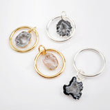 Agate Druzy Slice Circle Ring Pendant Silver Plated S1516