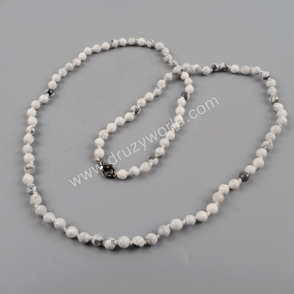 1 piece White Howlite Faceted Beads Long Necklace JT160